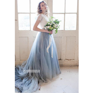 Charming Short Sleeves Lace Tulle Evening Long Prom Dresses, PM0803