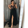 Charming Black Spaghetti Strap Side Slit Cheap Long Prom Dresses, PM0802 - Prom Muse