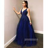 Royal Blue Tulle Beaded V Neck A Line Long Prom Dresses SPE125