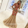 Beautiful Mermaid Tulle Flowers Applique Affordable Long Prom Dresses, PM1017 - Prom Muse