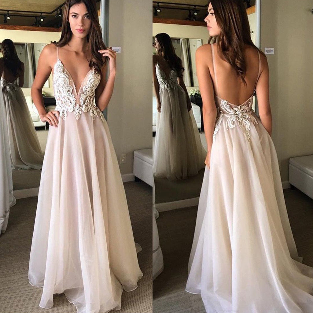 a288369377 Sexy Open Back Spaghetti Strap Popular Inexpensive Long Prom Dresses ...