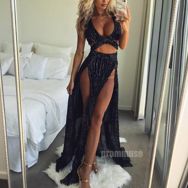 Black Sexy Splits Affordable Long Prom Dresses SPE123