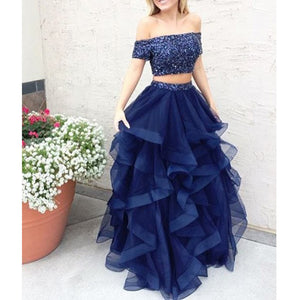 Off the Shoulder Two Pieces Popular Affordable Long Evening Prom Dresses, PM0290