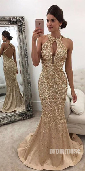 Sparkle Heavy Beaded Mermaid Open Back Inexpensive Long Prom Dresses, PM1016