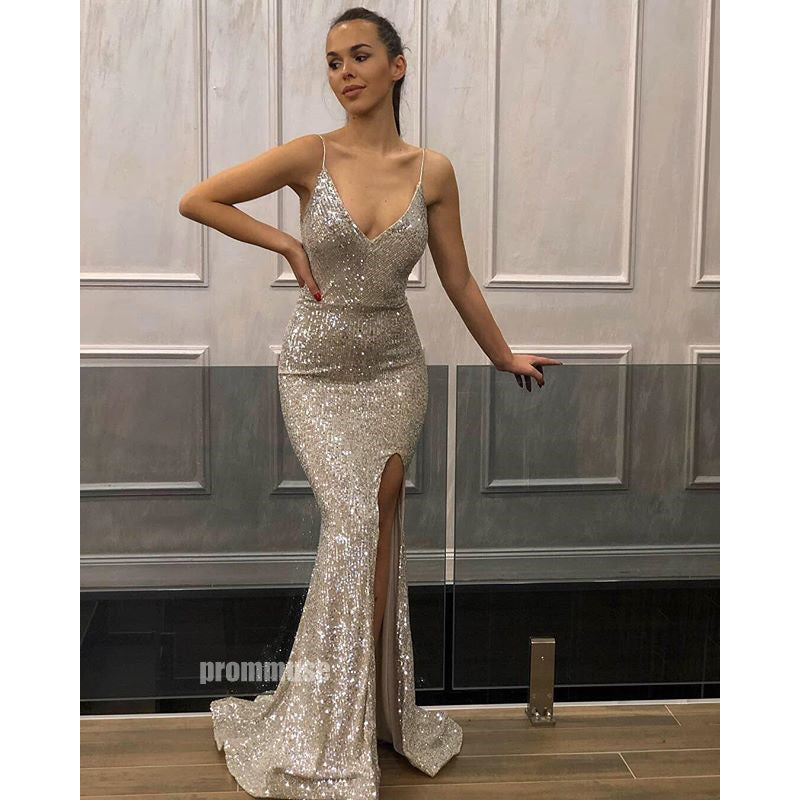 Spaghetti Strap Mermaid Sequin Slit Long Bridesmaid Prom Dresses SPE160
