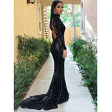 Long Sleeves Open Back Mermaid High Neck Cheap Long Prom Dresses, PM0160 - Prom Muse