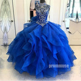 High Neck Beaded Top Long Prom Ball Gown Dresses SPE121