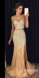 Sweetheart 2 Pieces Shinning Beaded Split Mermaid Long Prom Dresses, PM1024