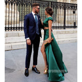 Two Pieces Side Slit Cheap Cap Sleeves Green Long Prom Dresses SPE122