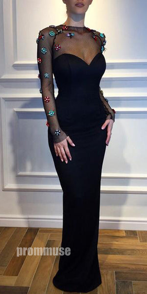 Sexy Black Long Sleeves Mermaid Unique Inexpensive Long Prom Dresses, PM1041