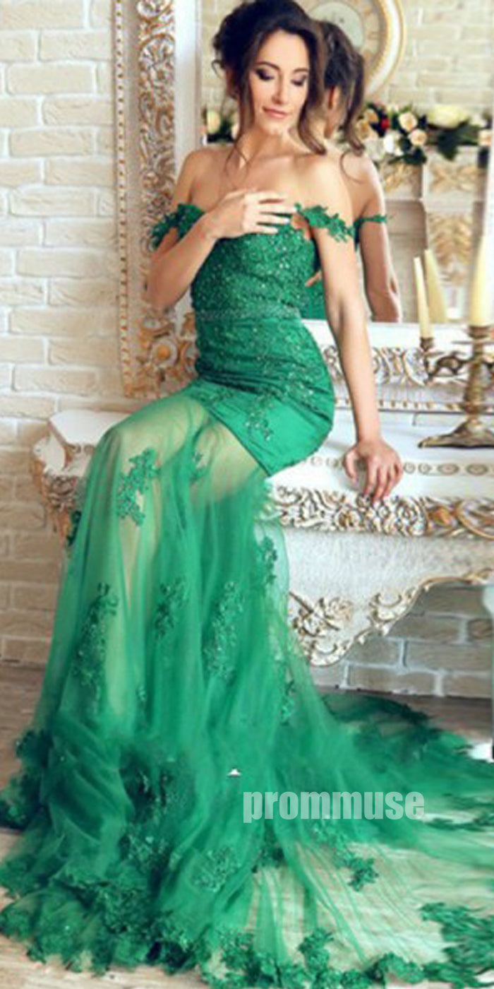 Green Off the Shoulder Mermaid Sexy Long Evening Prom Dresses, PM1063 - Prom Muse