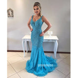 Blue Mermaid Shinning Beaded Inexpensive Evening Long Prom Dresses, PM1009