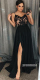 Charming Black Spaghetti Strap Side Slit Cheap Long Prom Dresses, PM0802