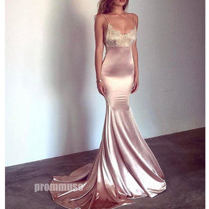 Spaghetti Strap Mermaid Lace Top Long Prom Dresses SPE126