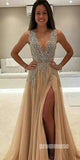Beaded Deep V Neck Side Split Evening Long Prom Dresses, PM1004