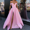 Off the Shoulder Side Slit Pink A Line Long Prom Dresses SPE138