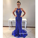 Royal Blue Mermaid Beaded Backless Evening Long Prom Dresses, PM1010