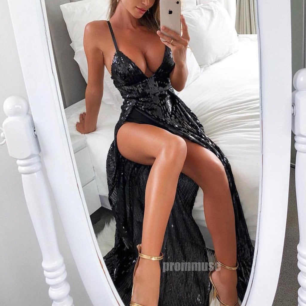Black Sexy Side Split Sequin Spaghetti Strap Long Prom Dresses SPE124