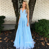 Blue Tulle Applique A Line Long Prom Dresses SPE136