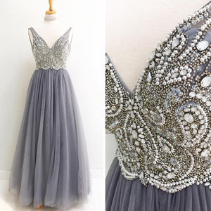 Charming V Neck Beaded Tulle Inexpensive Long Prom Dresses, PM0791 - Prom Muse