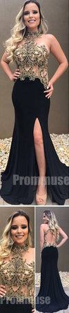 Black Side Split Mermaid Backless Sexy Evening Party Long Prom Dresses, PM1012
