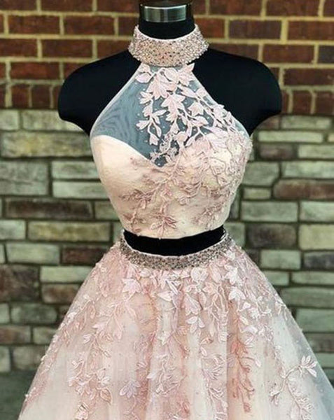 Two Pieces Halter Tulle Applique Evening Long Prom Dresses, PM1003