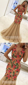 Beautiful Mermaid Tulle Flowers Applique Affordable Long Prom Dresses, PM1017
