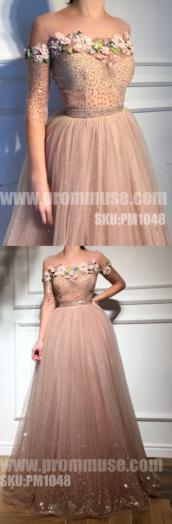 Charming Affordable Half Sleeves Applique Long Evening Prom Dresses, PM1048