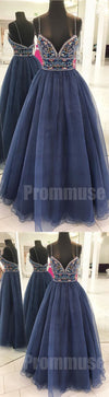 Beaded Spaghetti Strap Sweetheart Evening Long Prom Dresses, PM1002