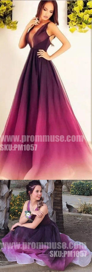 Popular Gradient Formal Sexy Evening Party Cheap Long Prom Dresses, PM1057 - Prom Muse