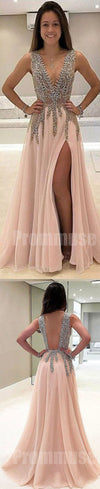Beaded Deep V Neck Side Split Evening Long Prom Dresses, PM1005 - Prom Muse