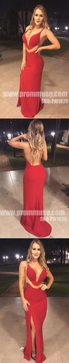 Red Cheap Mermaid Open Back Side Split Long Prom Dresses, PM1029 - Prom Muse