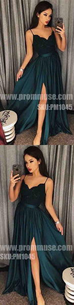 Popular Side Split Spaghetti Strap Cheap Formal Long Prom Dresses, PM1045 - Prom Muse