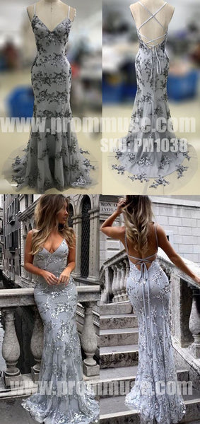 Sexy Mermaid Open Back Unique Formal Long Prom Dresses, PM1038