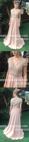 Blush Pink Short Sleeves Beaded Top Chiffon Formal Long Prom Dresses, PM1033 - Prom Muse