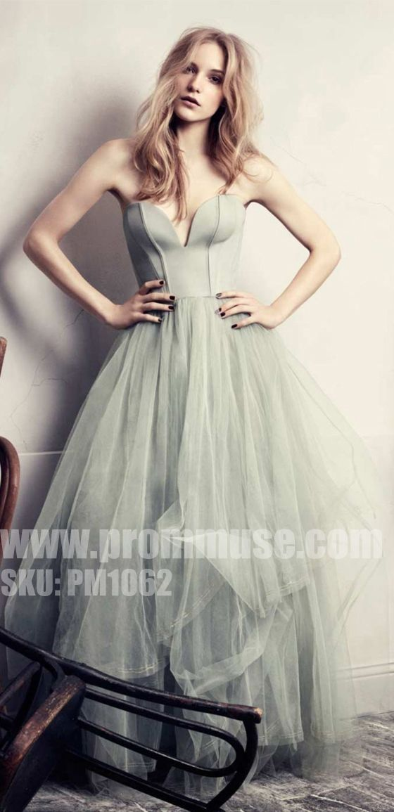 Simple Formal Sweetheart Tulle Cheap Long Evening Prom Dresses, PM1062