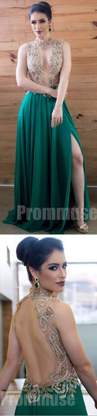 Green Open Sexy Back See Through Top Evening Long Prom Dresses, PM1008 - Prom Muse