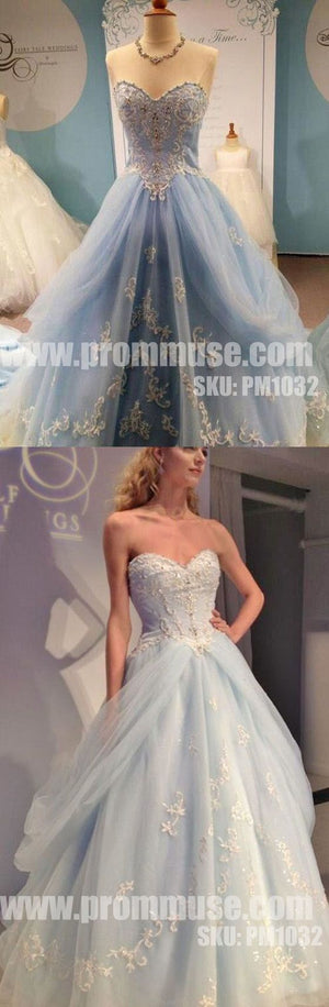 Charming Sweetheart Light Blue Tulle Applique Evening Long Prom Dresses, PM1032 - Prom Muse