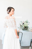 Long Sleeves Off the Shoulder Lace Top Long Wedding Dresses, PM0636