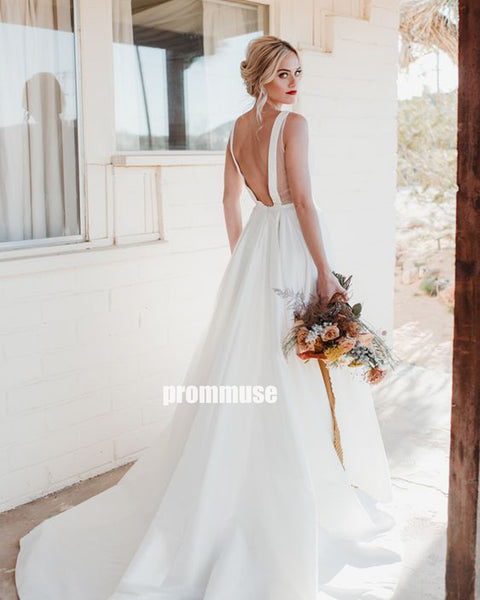 Elegant White V-neck Open Back Long Wedding Dresses, PWD008