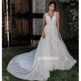 Charming White V-neck Open Back Tulle Long Wedding Dresses, PWD009