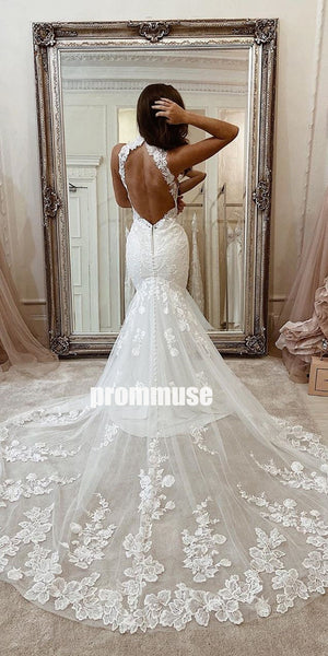 Sexy Halter Sleeveless Mermaid Lace Long Wedding Dresses, PWD010