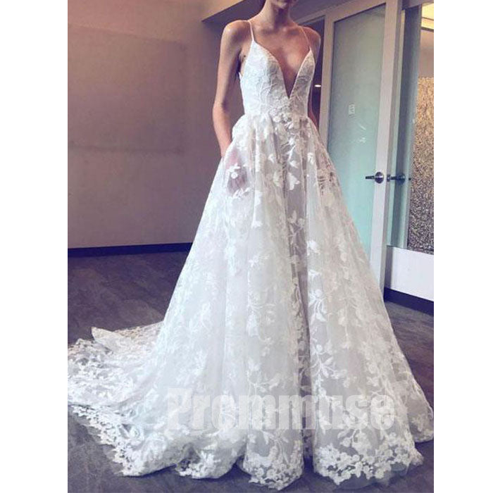 Charming Open Back Spaghetti Strap Formal Long Beach Wedding Dresses Pm0640