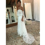 Off the Shoulder Charming Lace Long Cheap Beach Wedding Dresses, PM0601 - Prom Muse