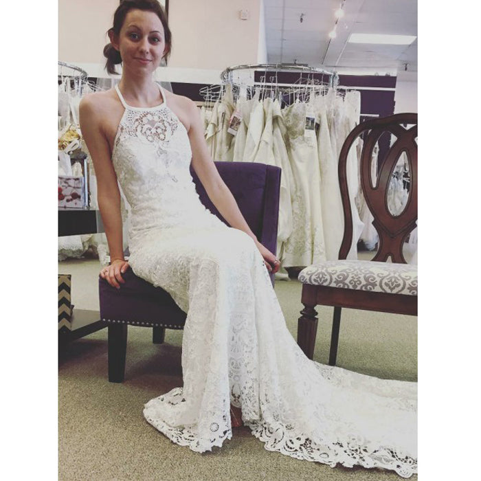 Ivory Lace Halter Simple Cheap Charming Long Cheap Beach Wedding Dresses, PM0641 - Prom Muse