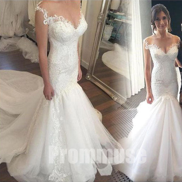 Mermaid Lace Tulle Affordable Elegant Long Wedding Dresses, PM0641 - Prom Muse