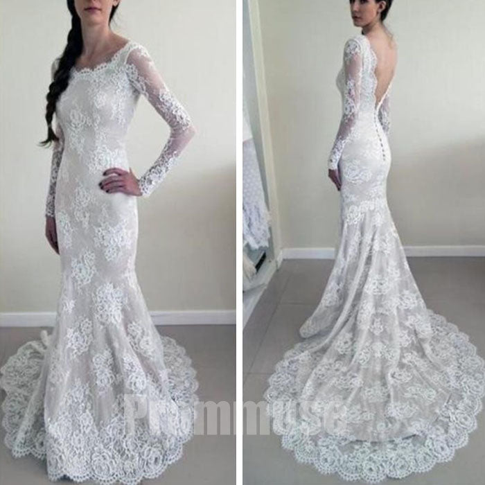 Long Sleeves Mermaid Backless Lace Long Cheap Wedding Dresses, PM0642 - Prom Muse