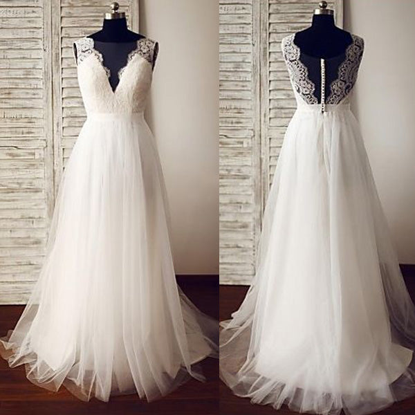 Popular V Neck Tulle Lace Formal Long Beach Wedding Dresses Pm0639