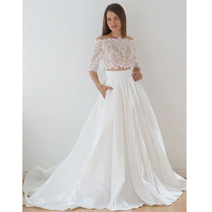 Half Sleeves Off the Shoulder Lace Top Long Wedding Dresses, PM0638 - Prom Muse