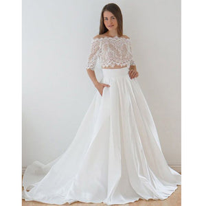 Half Sleeves Off the Shoulder Lace Top Long Wedding Dresses, PM0638